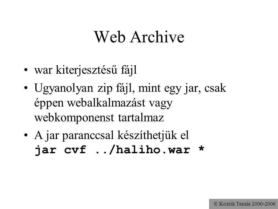 © Kozsik Tamás 2000-2006 Telepítés Tomcat alá Vagy a megfelelő belső szerkezetű könyvtárakat, vagy a belőle készített war fájlt bemásoljuk a webapps könyvtárba és újraindítjuk a tomcat szervert.