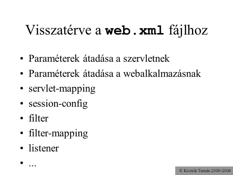 © Kozsik Tamás 2000-2006 Servlet, GenericServlet public interface Servlet { public void service( ServletRequest req, ServletResponse res ) throws ServletException, java.io.IOException;...