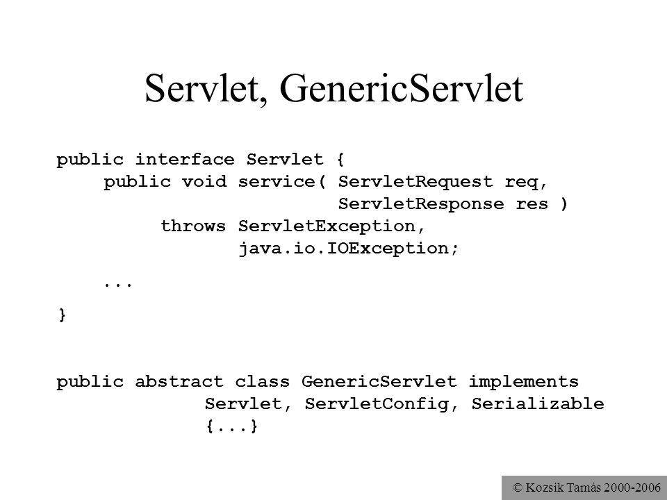 © Kozsik Tamás 2000-2006 HttpServlet public class HttpServlet extends GenericServlet { public void service(...) throws...