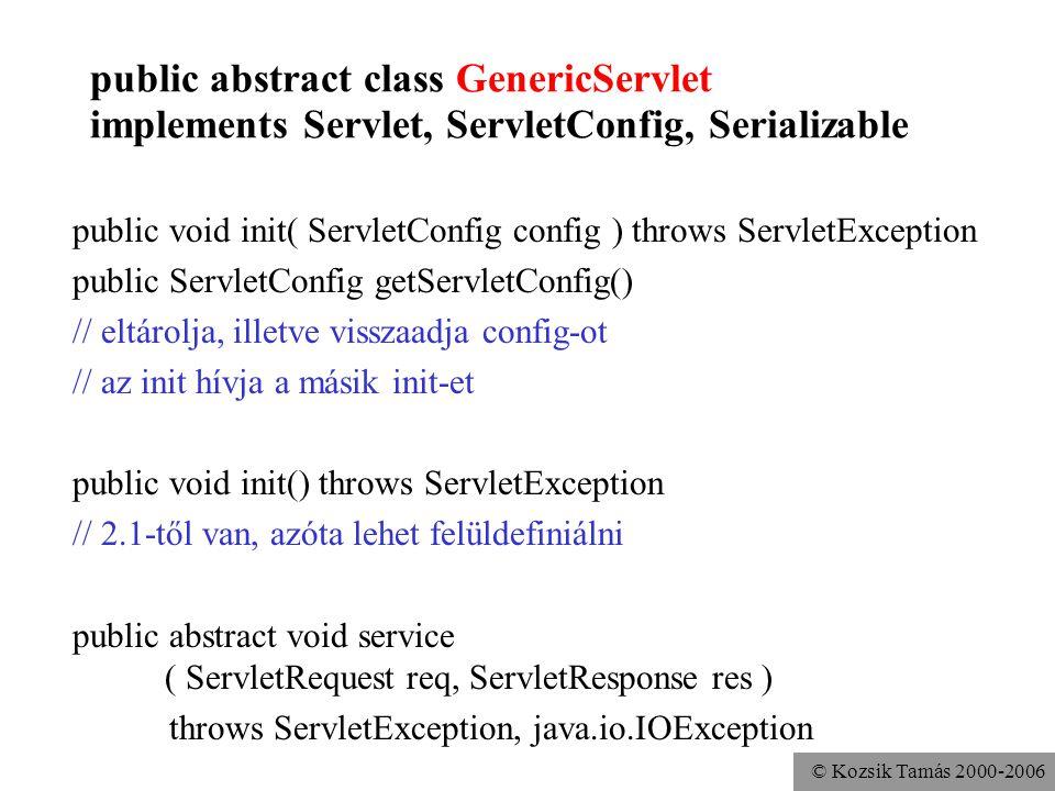 © Kozsik Tamás 2000-2006 public abstract class GenericServlet implements Servlet, ServletConfig, Serializable Kényelmi metódusok public String getInitParameter(String name) public java.util.Enumeration getInitParameterNames() public ServletContext getServletContext() public void log(String msg) public void log(String message, Throwable t) public String getServletName()