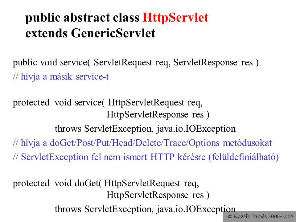 © Kozsik Tamás 2000-2006 public abstract class HttpServlet extends GenericServlet doGet, doPut, doPost, doDelete: Bad Request HTTP error doHead: mint doGet, de csak a fejlécek doOptions, doTrace protected long getLastModified(HttpServletRequest req)