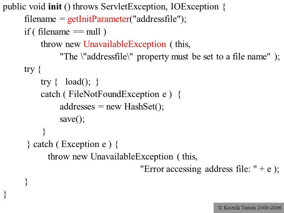 © Kozsik Tamás 2000-2006 public void init ( ServletConfig config ) throws ServletException { super.init(config); filename = getInitParameter( addressfile ); … } Működik réges régi (2.1 előtti) szervletfuttató környezetekben is