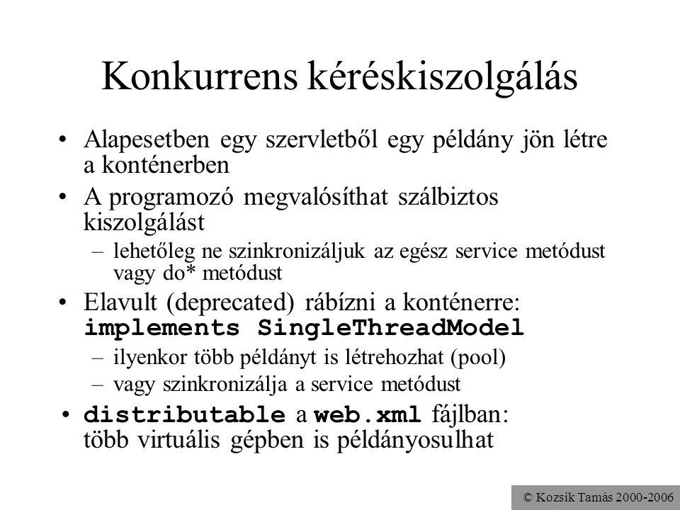 © Kozsik Tamás 2000-2006 Session A HTTP protokoll állapotmentes –két kérés kiszolgálása között nem őriz meg információt a kérések küldőjéről Sok alkalmazás mégis ezt kívánja Megoldások: –Alacsonyszintű Láthatatlan form mező (csúnya megoldás) Cookie (csak ha a böngésző is engedi) URL-átírás (macerás) SSL Session (HTTPS esetén jó) –Magas szintű: Session API, konténer dolga a háttérben Cookie (JSESSIONID) vagy URL-átírás