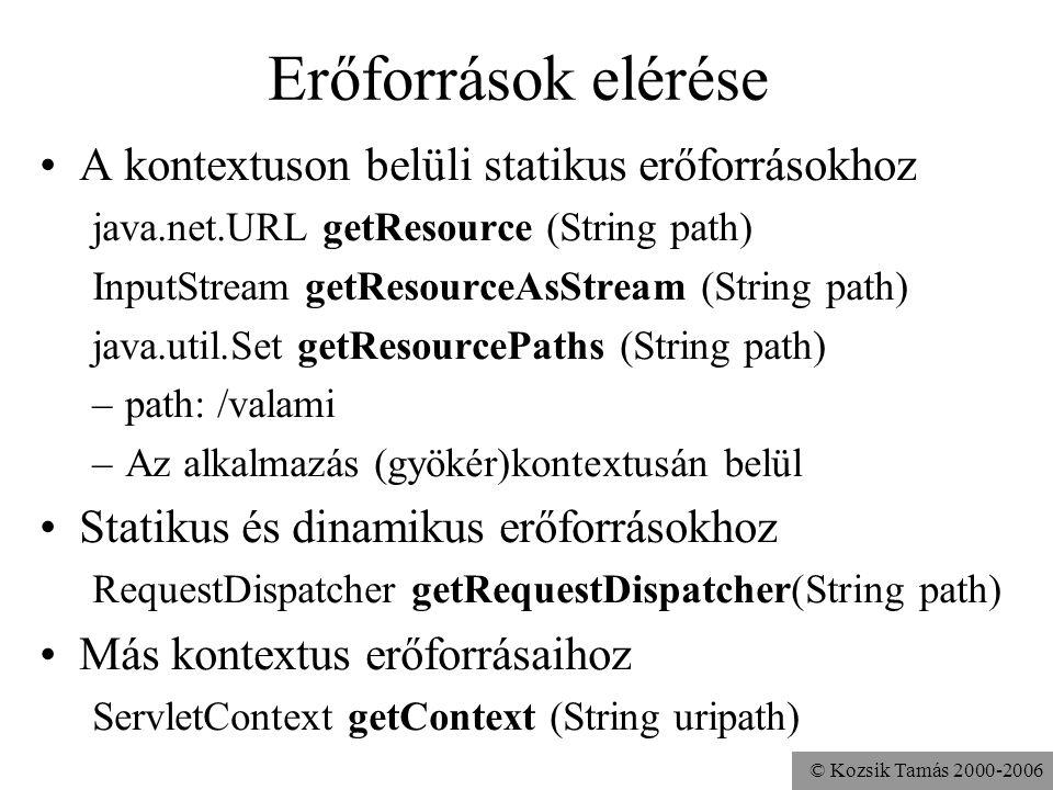 © Kozsik Tamás 2000-2006 Ideiglenes munkakönyvtár Minden kontextushoz tartozik egy Védett a többi kontextustól Elérése: előre definiált kontextus attribútum –javax.servlet.context.tempdir –java.io.File objektum