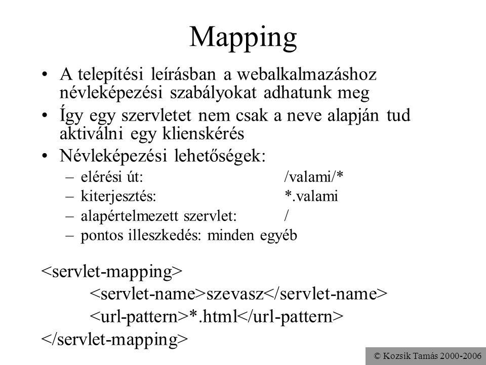 © Kozsik Tamás 2000-2006 Mapping A telepítési leírásban a webalkalmazáshoz névleképezési szabályokat adhatunk meg Így egy szervletet nem csak a neve alapján tud aktiválni egy klienskérés Névleképezési lehetőségek: –elérési út: /valami/* –kiterjesztés: *.valami –alapértelmezett szervlet: / –pontos illeszkedés: minden egyéb szevasz /alma/korte/*