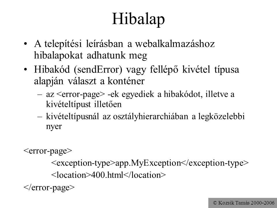 © Kozsik Tamás 2000-2006 Üdvözlő oldal (welcome file) Ha egy kérésben szereplő URI egy könyvtár, ami nincs szervletre (vagy JSP oldalra) képezve akkor a konténer megpróbálja kiegészíteni ezekkel index.html default.jsp