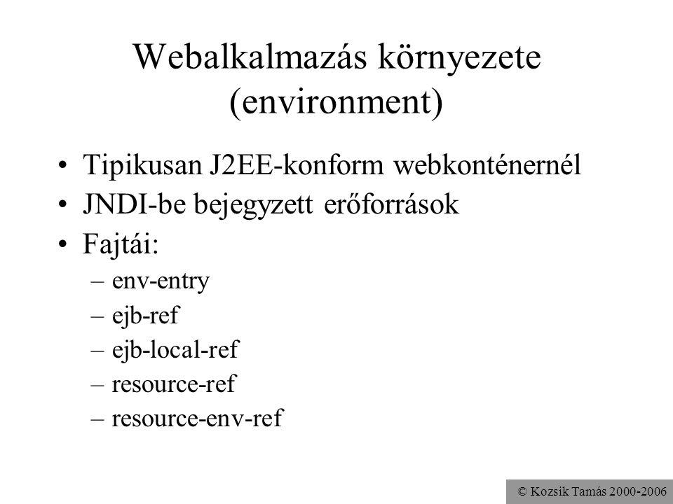 © Kozsik Tamás 2000-2006 Eseménykezelő (listener) Webalkalmazásokhoz rendelhető Különböző események bekövetkeztekor a konténer automatikusan hívja őket ServletContext, HttpSession, ServletRequest Életciklus-események, attribútum-változások Alma public class Alma implements HttpSessionListener { … }