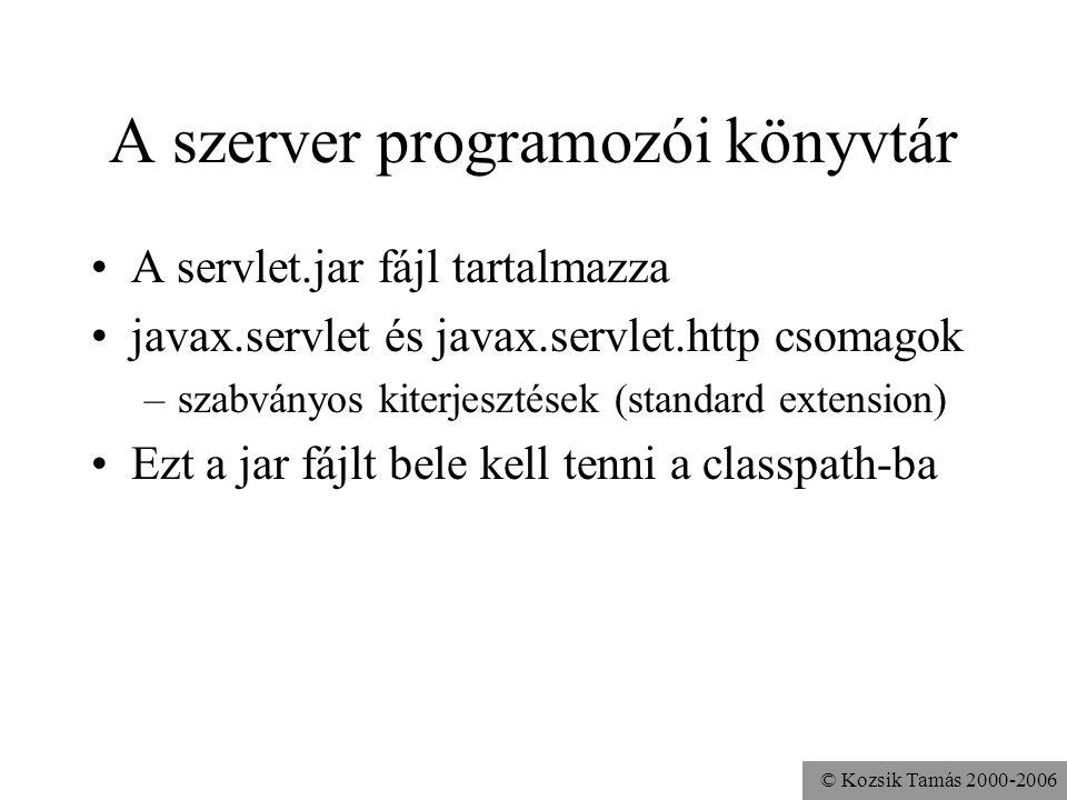 © Kozsik Tamás 2000-2006 Szervletek és HTTP szervletek Leggyakrabban HTTP protokollt használó szervleteket szoktak írni (pl.
