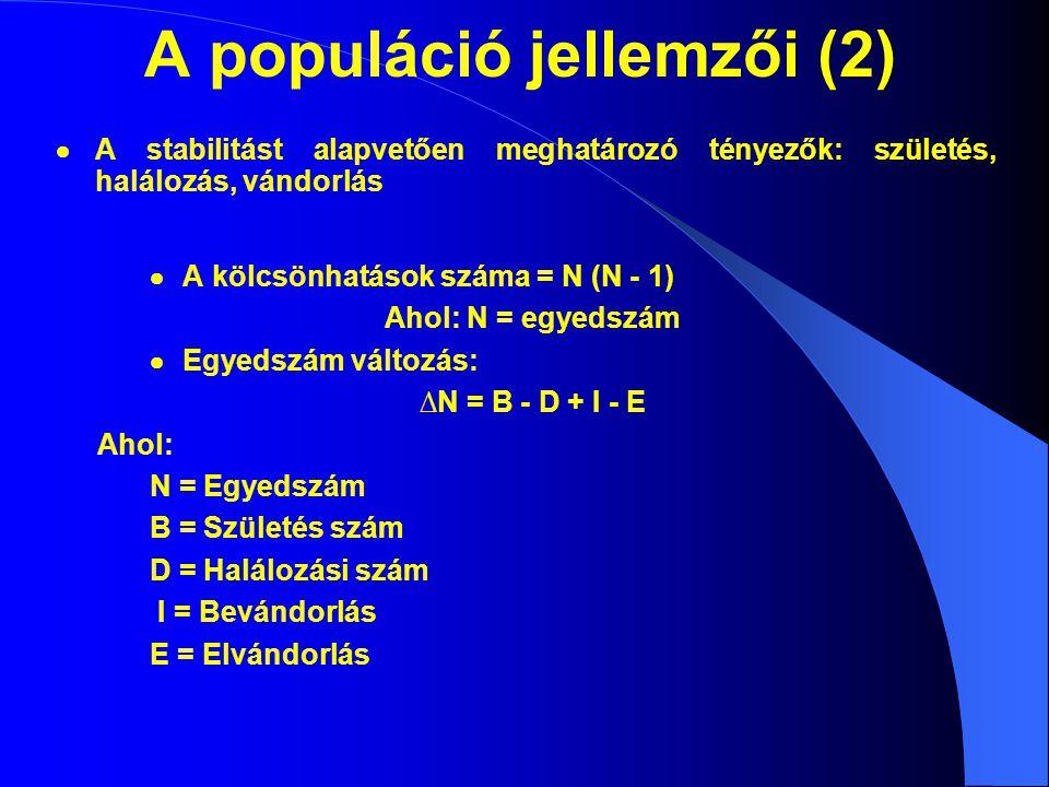 Populációdinamika  A populáció nagyságának és összetételének változása  Potenciális natalitás (fajra jellemző maximális születésszám, az ökológiai natalitás ennél kisebb)  Potenciális mortalitás (fajra jellemző minimális halálozásszám, az ökológiai halálozás ennél nagyobb)  Koreloszlás jellemzése: korfa korcsoport korcsoport aránya férfiaknők 0-5 5-10 15-20 20-25 25-30 35-40 40-45 45-50 50-55 55-60 60-65