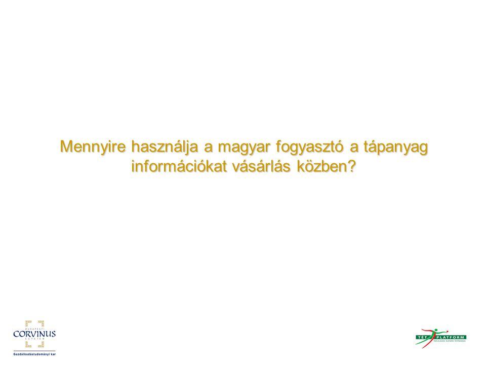 A tápanyag információ és a termékek kiválasztása A magyar vásárlók a csomagoláson a szavatossági időt, az összetevőket, ezen belül is jellemzően az adalékanyagokat, az E-számokat nézik meg legelőször A vásárlók mintegy 60%-a megnézi a csomagoláson található tápanyag információt, közülük a legtöbben a doboz elején levőt A tápanyagok közül általában a kalória-, a szénhidrát- és a fehérjetartalmat nézik meg A vásárlók viszonylag hosszú időt töltenek a termékek megnézésével, a válogatással A termékek kiválasztása leginkább az ízük alapján történik, vagyis azt vesszük, ami ízlik