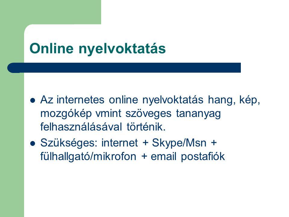 Online nyelvoktatás http://dint.hu/alap.php?nmod=nap www.fn.hu/index.php?id=211 www.bbc.co.uk/worldservice/learningenglish www.goethe-verlag.com/test/