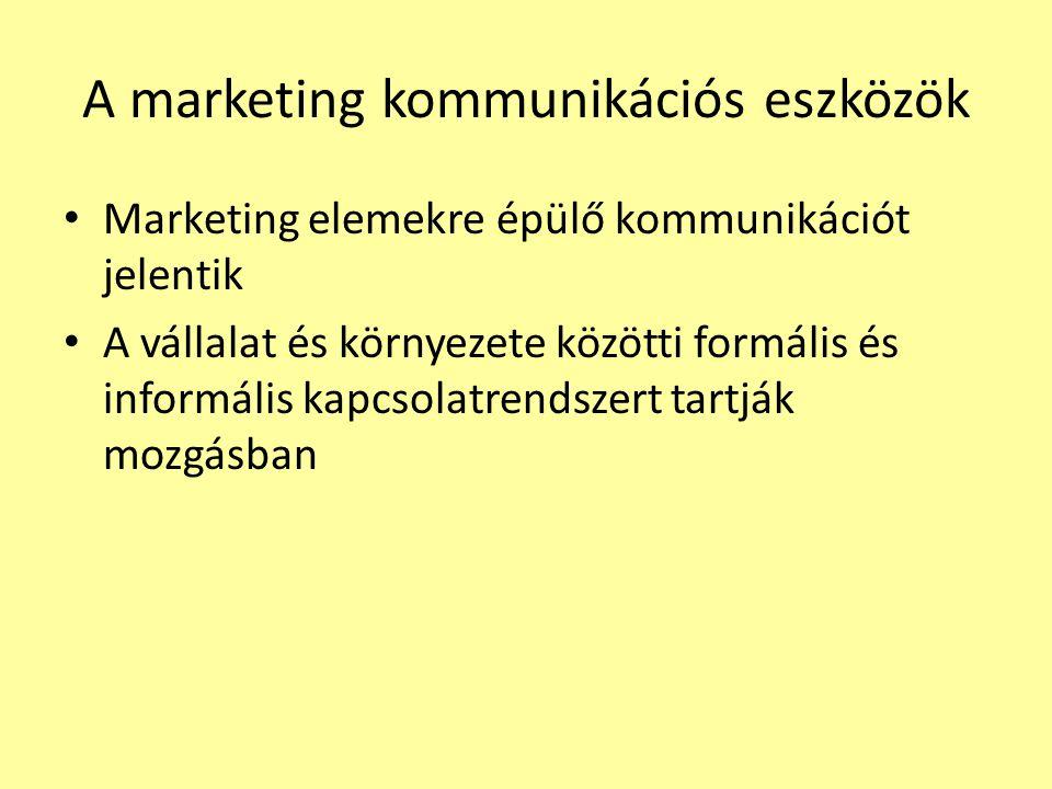 A marketing kommunikáció folyamata 1.A célközönség meghatározása 2.A kommunikáció céljainak meghatározása 3.Az üzenet megtervezése (AIDA, tartalom-szerkezet- forrás) 4.A kommunikációs csatornák kiválasztása 5.A költségek meghatározása 6.Döntés a kommunikációs-mixről 7.A folyamat menedzselése és összehangolása