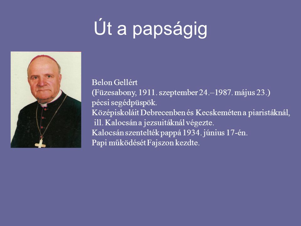 …míg Jánoshalmára került 1936-47-ig Kalocsán, a Hittudományi főiskolán tanított, s közben a szeminárium spirituálisa (lelkivezető) volt.