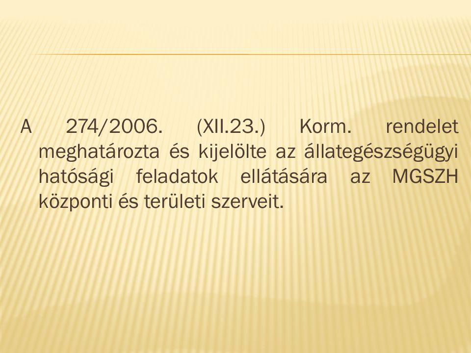 Meghatározza:  Az állategészségügyről szóló 2005.