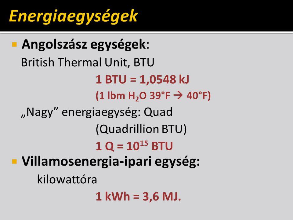  Táplálkozástudomány: kalória 1 kcal =1 Cal ≈ 4182 J  Nukleáris technológia: elektronvolt 1 ev = 1,602∙10 −19 J
