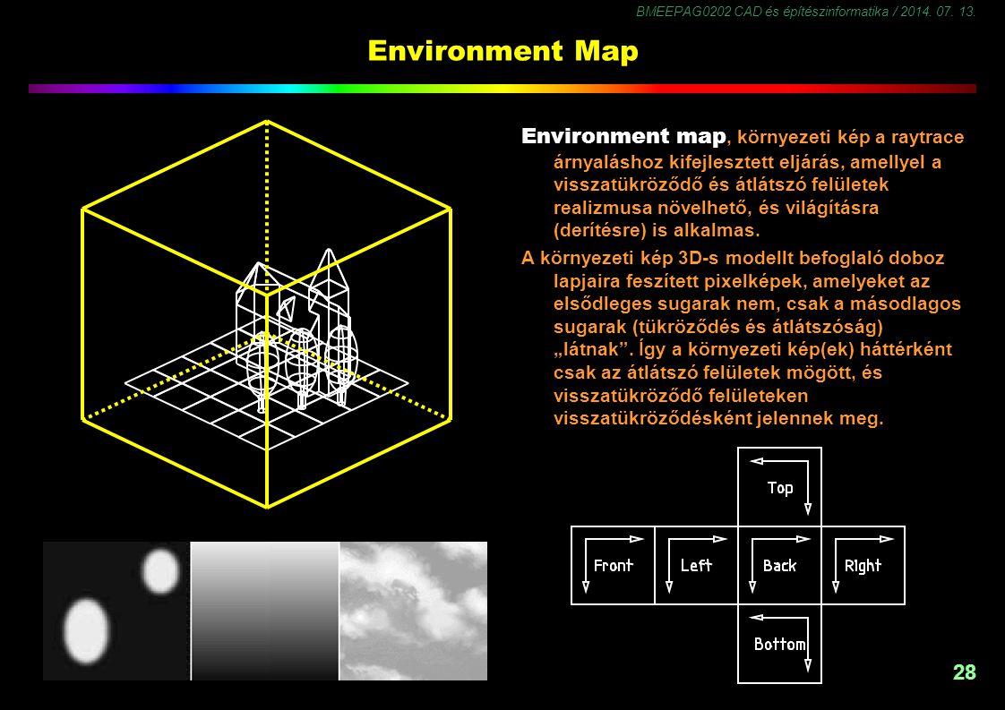 BMEEPAG0202 CAD és építészinformatika / 2014. 07. 13. 29 Environment Map