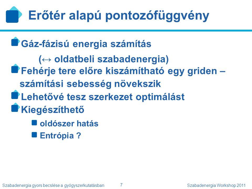 """8 Szabadenergia gyors becslése a gyógyszerkutatásbanSzabadenergia Workshop 2011 Tapasztalati pontozófüggvények Kölcsönhatási tagok intuitív válogatása Hidrogén-kötés Típus szerint súlyozott összeg Ionos kölcsönhatás Hidrofób kölcsönhatás Arányos az érintkező felszín nagyságával Kísérleti affinitásokhoz illesztett paraméterek Csak a modellben szereplő tagokat """"látja Lokális kölcsönhatások"""