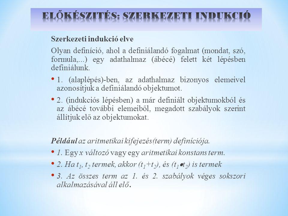 Szerkezeti rekurzió elve Pontosan egy olyan L 0 –on értelmezett F függvény van, melynek 1.