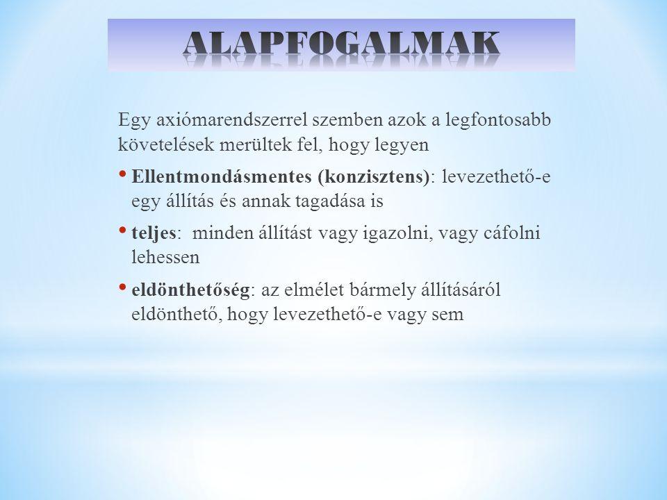 NYELV=ABC + SZINTAXIS + SZEMANTIKA ABC:Szimbólumok tetszőleges nemüres halmaza Pl.: V={0,1} Szavak: Egy abc elemeiből álló véges sorozat Pl.: 01010001 V*: V abc elemeiből alkotott szavak halmaza Pl.: {0,1,00,01,10,11, …} V abc feletti formális nyelv (L): V* egy tettszőleges részhalmaza Pl.: {0,1,00,11,000,111} Kérdés: Van-e olyan szabályrendszer, amivel L elemei megadhatóak.