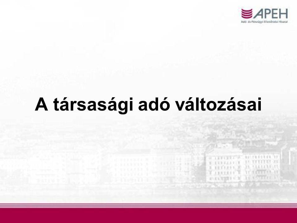 Kedvezményes adókulcs A kedvezményes 10%-os társasági adókulcs alkalmazási körének kiterjesztése  50 m Ft adóalapról 500 m Ft adóalapra változik Az 500 m Ft adóalap fölötti rész 19%-os mértékkel adózik A kedvezményes kulcs alkalmazása nem kötődik feltételek teljesítéséhez.