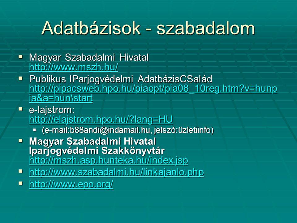 Adatbázisok - védjegy  Védjegy névellenőrzés http://www.nevado.hu/vedjegy/vedjegykuta tas.php http://www.nevado.hu/vedjegy/vedjegykuta tas.php http://www.nevado.hu/vedjegy/vedjegykuta tas.php  EU védjegykutatás http://vedjegy.eu/content.php?s=research &f=tradres1&id=6mctb6gvfo3ixh9k&portall ang=HU http://vedjegy.eu/content.php?s=research &f=tradres1&id=6mctb6gvfo3ixh9k&portall ang=HU http://vedjegy.eu/content.php?s=research &f=tradres1&id=6mctb6gvfo3ixh9k&portall ang=HU  http://vedjegy.lap.hu/ http://vedjegy.lap.hu/