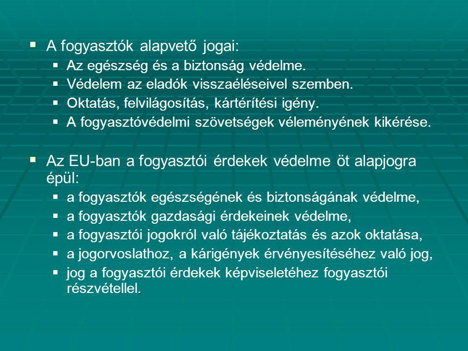   Az Európai Bizottság az önálló Fogyasztóvédelmi Főigazgatóságot 1995-ben hozta létre   Hatásköre folyamatosan bővült, ma:   6 Igazgatóság   27 osztály   640 szakértő   A Fogyasztóvédelemről szóló 1997.