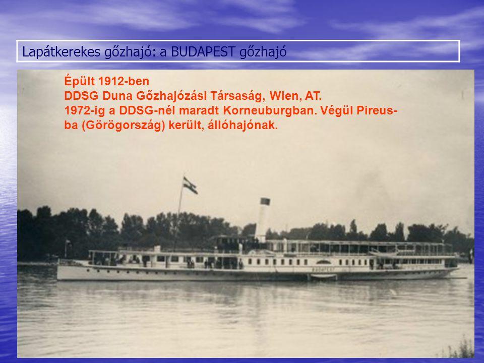Lapátkerekes gőzhajó: az ÁRPÁD gőzhajó modellje a Közlekedési Múzeumban Épült 1836-ban DDSG Duna Gőzhajózási Társaság, Wien, AT.