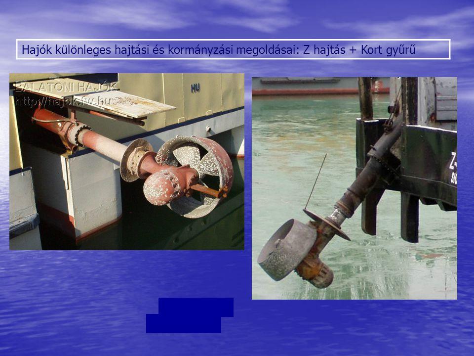 Hajók különleges hajtási és kormányzási megoldásai Voith-Schneider propeller (VSP) - kombinált meghajtás és kormányzás: komphajókon alkalmazzák a jó manőverező képesség miatt