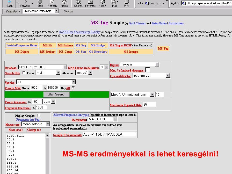Független PMF és MS-MS azonosítás az igazi!