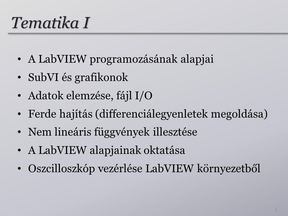Tematika II A virtuális soros port, műszerek vezérlése LabVIEW környezetből Alkatrészek karakterisztikájának mérése DAQmx műszerek vezérlése Hálózati kommunikáció Megosztott változók LabVIEW style, LabVIEW számonkérési módszerek 6
