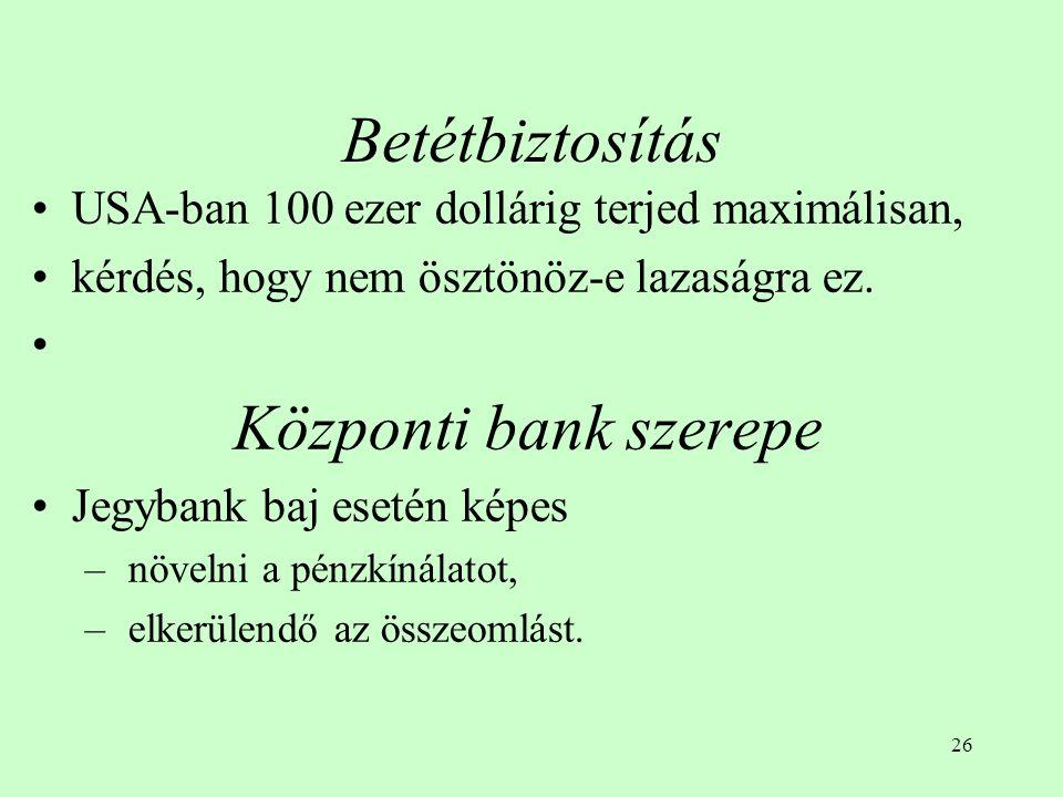 27 Bankcsőd és a bankok megrohanása Csőd van, ha: – az eszközök értéke a betétek és kötelezettségek értéke alá csökken, –az első kivevői teljes mértékben megkapják pénzüket, amit vagy más bankhoz visznek át, vagy értékpapírt vásárolnak, vagy készpénzben tartják meg.