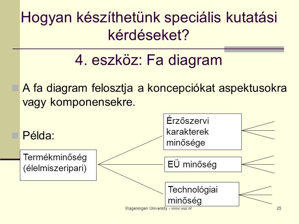 Wageningen University - www.wur.nl26 Útmutató fa diagram készítéséhez Készíts annyi lehetőséget amennyit csak lehet Minden lehetőségnél készíts annyi kategóriát amennyit csak lehet A kategóriák a koncepció (elképzelés) aspektusaiból vagy komponenseiből készüljenek, NE pedig azok okaiból vagy hatásaiból Ne tartalmazzon a fadiagram értékeket A kategóriák homogének legyenek A kategóriák alaposak legyenek