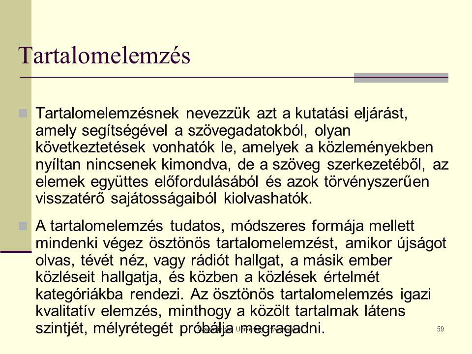 Wageningen University - www.wur.nl60 Véletlen mintavétel Szisztematikus mintavétel (egy lista minden n-edik egységét beválasztjuk a mintába) Rétegzett minták (szegmentációs kritériumoknak megfelelő mintavétel) Klaszteres mintavétel (ha a tévé tartalmainak hatását vizsgáljuk, mintát vehetünk a sűrűn tévézők és az alig tévézők csoportjából) Változó valószínűségű mintavétel (a mintába való bekerülés valószínűségét minden egység számára előzetesen megállapított kritérium szabja meg) Mintavétel a tartalomelemzésben