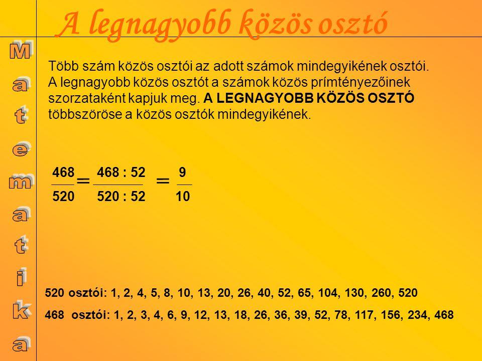 LNKO 2 1 x 5 1 x 7 1 = 70 1400=2 3 x 5 2 x 7 210= 2 1 x 3 x 5 x 7 1400 700 350 175 35 7 1 222557222557 210 105 21 7 1 25372537 Legnagyobb közös osztó (LNKO) A legnagyobb közös osztó maximum a legkisebb szám lehet.