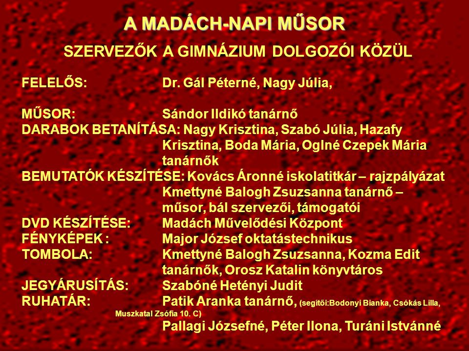 A MADÁCH-NAPI JÓTÉKONYSÁGI MŰSORBAN FELLÉPŐ TANULÓK 9.
