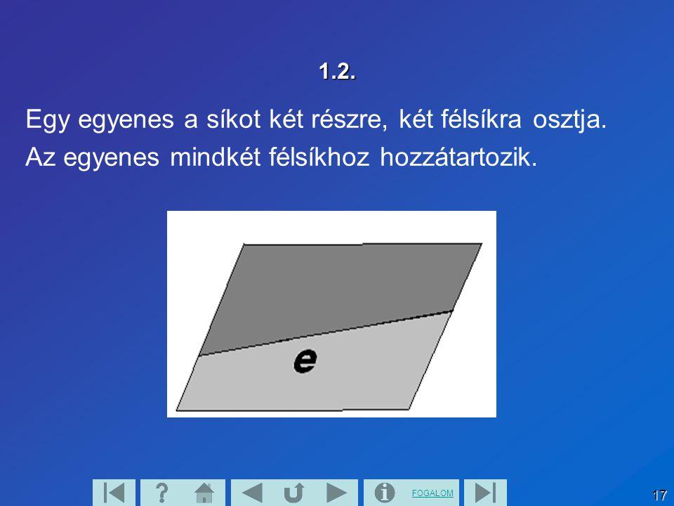 FOGALOM 18 1.3. Két különböző párhuzamos egyenes a síkot három részre osztja.