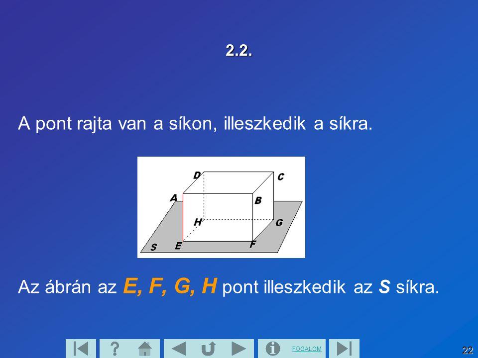 FOGALOM 23 2.3. Az A, B, C, D pontok nincsenek rajta az S síkon.