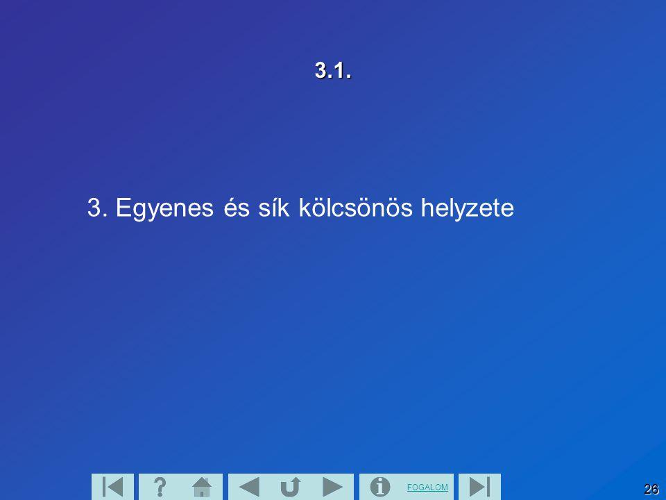 FOGALOM 27 3.2.Az egyenesnek nincs közös pontja a síkkal, párhuzamos vele.