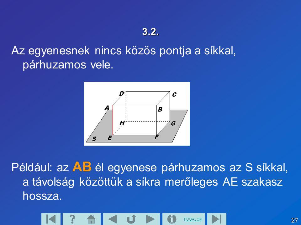 FOGALOM 28 3.3. A síkot és a rá nem illeszkedő egyenest is egymással párhuzamosnak tekintjük.