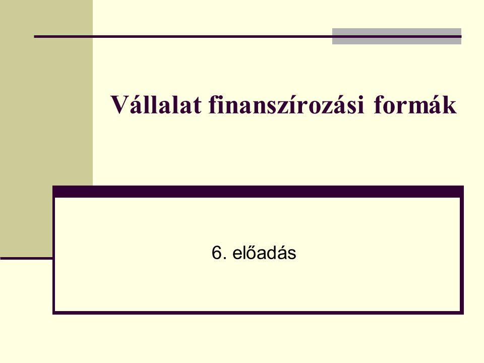 2 Az előadás menete 1.A belső és külső finanszírozási formák rendszere és fő jellegzetességei 2.