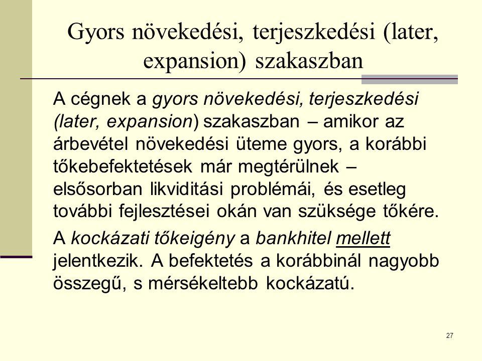 28 Kockázati tőke különböző megjelenési formái (bevezetés – növekedés szakaszok) Forrás: EC [2002]