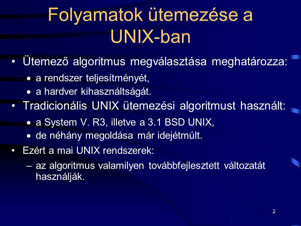 3 Az ütemezési algoritmussal szemben támasztott követelmények A UNIX rendszer feltételezett felhasználása:  több felhasználós,  interaktív programok,  batch programok.