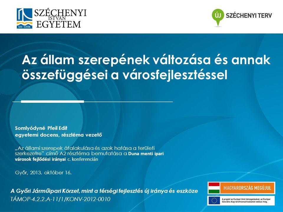 Alapkutatási irány Kutatási kérdésünk: Győri járműipari körzet, mint határon átnyúló nagyvárosi tér mely feltételek mellett lesz sikeresen kormányozható→ a sikeres fejlesztési modell lehetséges forgatókönyveinek a felvázolása Tételezzük: –a gazdasági fejlődés kulcsszereplői a városok, melyek esetében a versenyképesség elérésének egyik meghatározó metodikája a kooperáció, továbbá az általa megtestesített új típusú (governance) kormányzás.