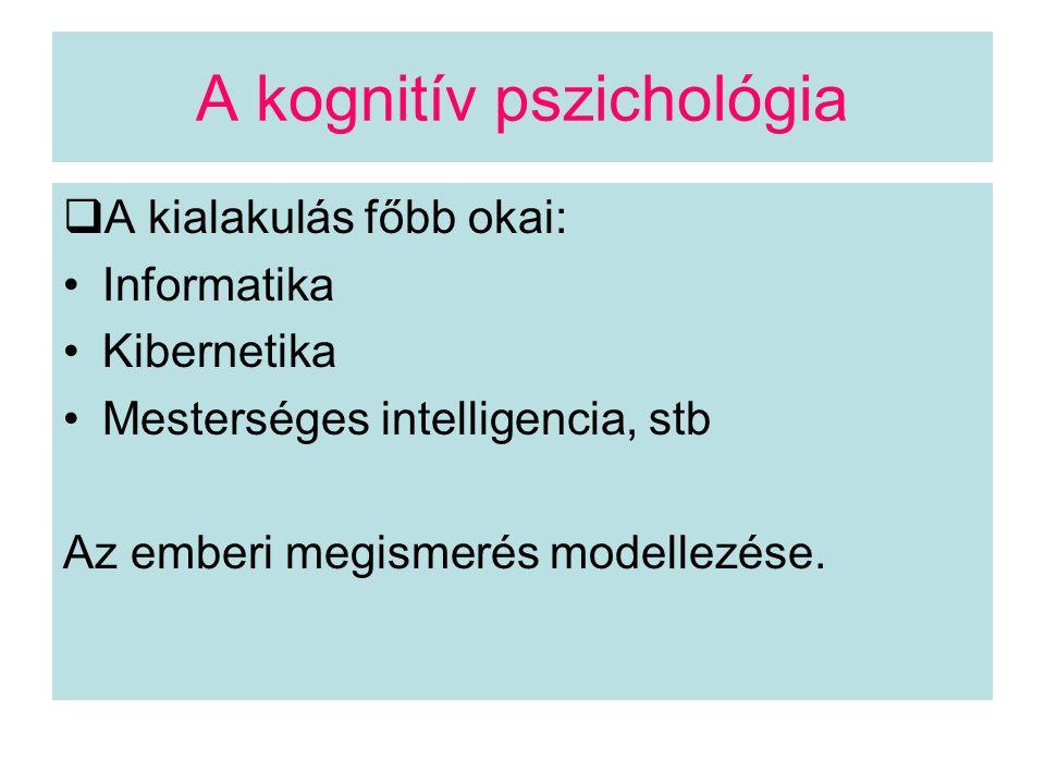 A kognitív pszichológia a megismerési funkciókat nem egymástól elszigetelten, hanem a tevékenység, a cselekvés által szervezett kölcsönhatásukban értelmezi.