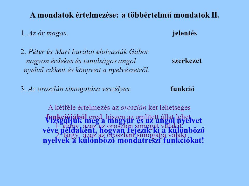 A mondatok értelmezése: a többértelmű mondatok II.