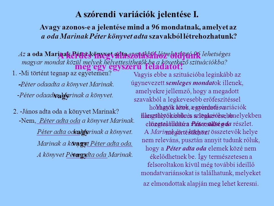A szórendi variációk jelentése I.