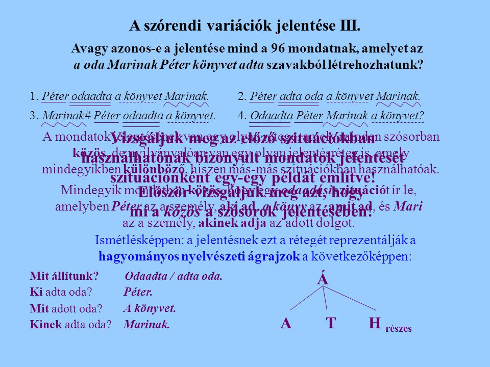 A szórendi variációk jelentése III.