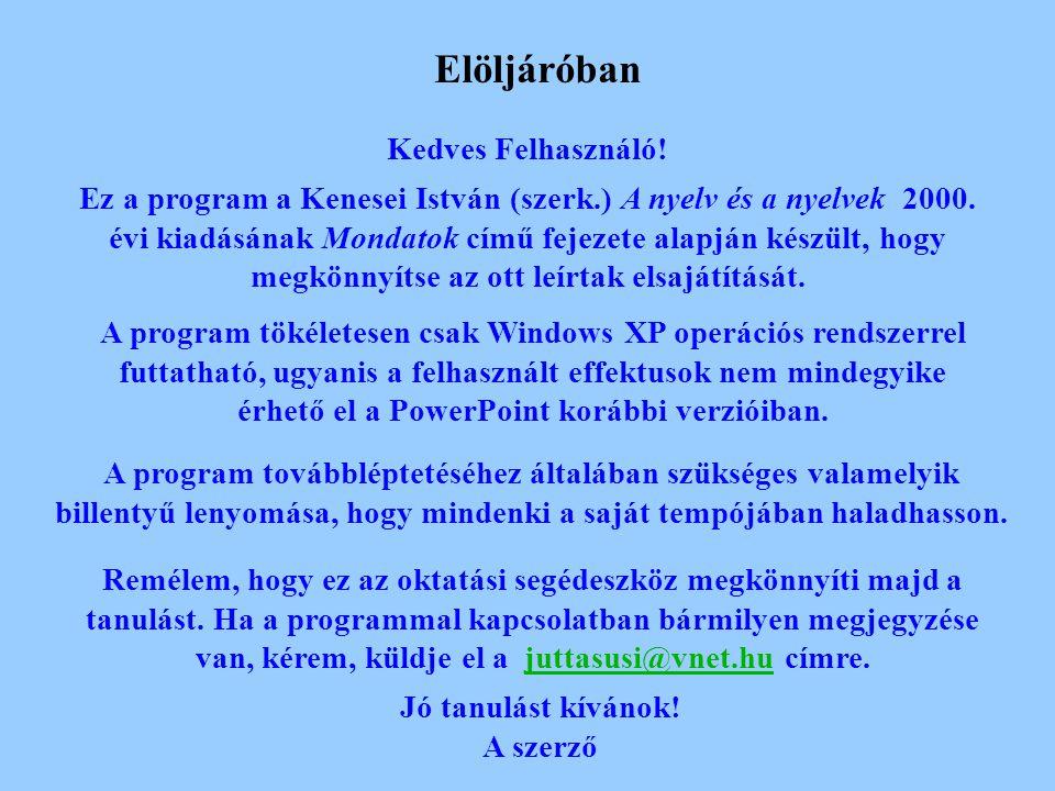 Elöljáróban Kedves Felhasználó.Ez a program a Kenesei István (szerk.) A nyelv és a nyelvek 2000.