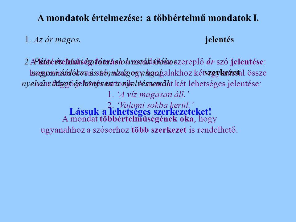 A mondatok értelmezése: a többértelmű mondatok I.1.