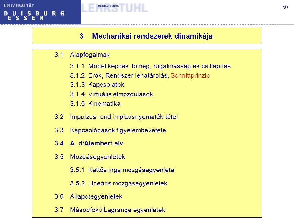 151 3.4 Das d'Alembertsche Prinzip A d'Alembert elv szerint a rekcióerők virtuális munkája eltűnik.